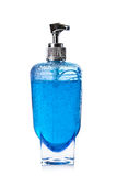 Blue liquid soap in transparent bottle isolated royalty free stock photos
