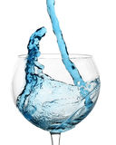 Blue Liquid Splashing in Wine Glass Stock Photography