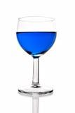 Blue Liquor in Wine Glass Stock Photo