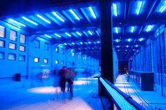 Blue lit corridor. A pathway lit with blue lights Stock Images