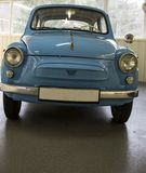 Blue little car retro style in a museum. Blue little car in retro style in a museum of Ukraine Stock Photography