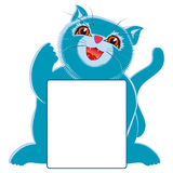 Blue little cat and sign Stock Photo
