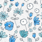 Blue little flower seamless pattern Stock Photo