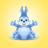Blue little funny bunny Royalty Free Stock Photo