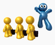 Blue little funny icon jumping from the crowd stock illustration