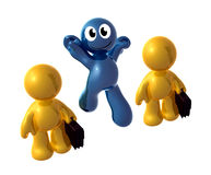 Blue little funny icon jumping out the crowd Royalty Free Stock Images
