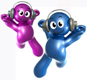 Blue little funny icon listening to music. 3d illustration Royalty Free Stock Photo