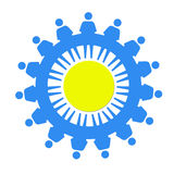 Blue little men as a symbol of solidarity Stock Image