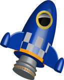 Blue little rocket ship  illustration Royalty Free Stock Images