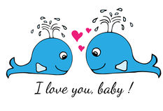 Blue little whale greeting card with heart and inscription I lov Royalty Free Stock Photo