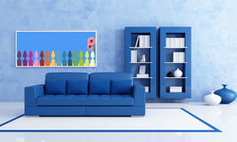 Blue living room. Contemporary Blue living room with bookcase - rendering- the art picture on wall is a my render composition Stock Images