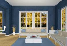 Blue Living room and autumn park. 3d living room with a view into a park in fall Royalty Free Stock Images
