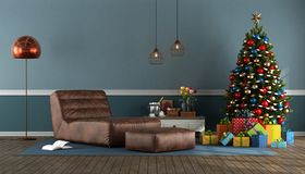 Blue living room with Christmas tree Stock Photography