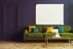 Blue living room, green sofa toned. Blue living room interior with a wooden floor, a long green sofa with colored cushions on it and a coffee table. A horizontal Royalty Free Stock Image