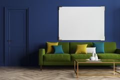 Blue living room, green sofa. Blue living room interior with a wooden floor, a long green sofa with colored cushions on it and a coffee table. A horizontal Royalty Free Stock Photography