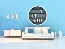 Blue living room, modern room Royalty Free Stock Photography