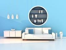 Blue living room, modern room. 3D render image of the blue living room, modern room Royalty Free Stock Photography