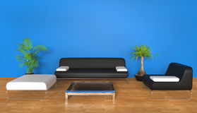 Blue Living Room Stock Photography