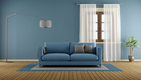 Blue living room room with wooden Stock Photography
