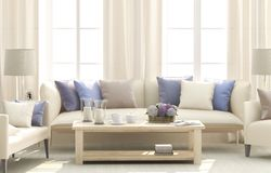 Blue living room royalty free stock images