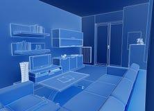 Blue livingroom Stock Image