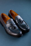 Blue loafer shoes on blue background. One pair. Top view. Stock Photo