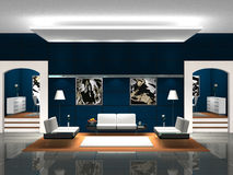 Blue Lobby. Rendering showing a blue lobby or foyer Royalty Free Stock Images