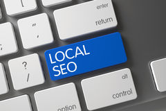 Blue Local SEO Button on Keyboard. 3D. Stock Photos