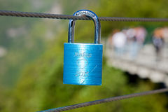 Blue lock with nordkap and heart shape gravure Royalty Free Stock Images