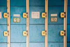 Blue lockers in Japan royalty free stock photography