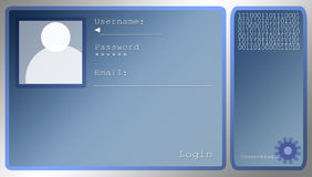 Blue Login Screen Layout With Portrait Box royalty free illustration