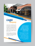 Blue logo A4 brochure template. Orange line and circle cyan textbox on white background. One side flyer layout demo text. Food shop wall brick on top banner Stock Images