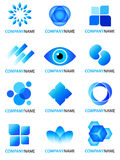 Blue logo collection. Group of 12 vector abstract logo design elements. Set of isolated mixed blue icons with company name text for your logotype on white stock illustration