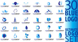 Blue logo collection Royalty Free Stock Image