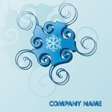 Blue logo for a company with space for text and curls. Illustration Royalty Free Stock Photo