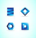 Blue logo design elements icon set. Vector company logo icon element template design set 3d blue corporate business brand Vector Illustration