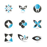 Blue logo elements. 9 pieces of elegant and modern blue logo elements set Royalty Free Stock Photos