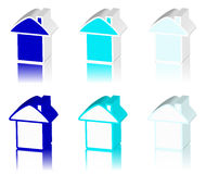 Blue logo of house Stock Image