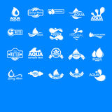 Blue logos set. Label for mineral water. Aqua icons collection. Stock Image