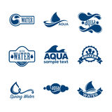 Blue logos set. Label for mineral water. Aqua icons collection. Royalty Free Stock Photos