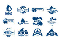 Blue logos set. Label for mineral water. Aqua icons collection. Royalty Free Stock Image