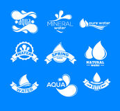 Blue logos set. Label for mineral water. Aqua icons collection. Stock Photos