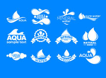 Blue logos set. Label for mineral water. Aqua icons collection. Stock Photography