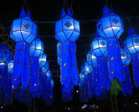 Blue Loikrathong lantern Royalty Free Stock Images