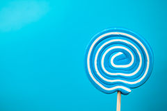 Blue lollipop candy Royalty Free Stock Image