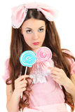 Blue lollipop Royalty Free Stock Images