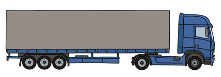 Blue long cover semitrailer. Hand drawing of a blue long cover semitrailer Stock Photo
