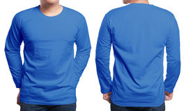 Blue Long Sleeved Shirt Design Template. Blue long sleeved t-shirt mock up, front and back view, isolated. Male model wear plain navy blue shirt mockup. Long stock photo