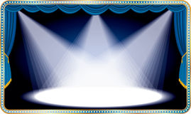 Blue long stage. Horizontal empty stage with blue curtain and three spots Royalty Free Stock Photos