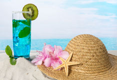 Blue longdrink on the beach Stock Image